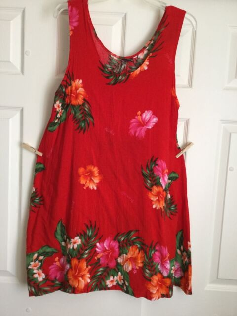 Women's Hawaiian Summer Sun Dress Perfect Pool Cover-Up No Size Red Rayon