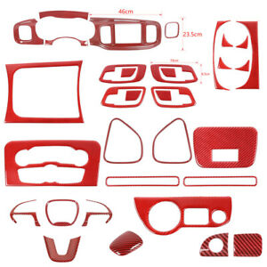 Red Carbon Fiber Full Kit Interior Accessories 34pcs Trim for Dodge Charger 15+