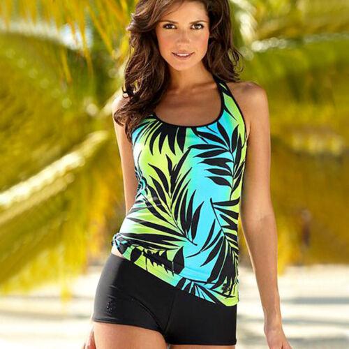 Damen Badeanzug Blumen Tankini Set Bikini Push Up Pad Bademode Strand Bademode