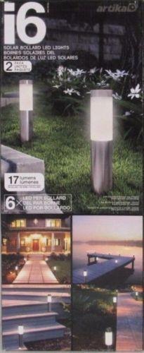 Artika i6 Solar Bolardo Luces LED   6 LED por Bolardo   17 LM   Paquete de 2