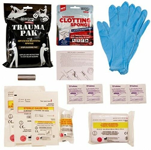 Trauma Pak with Advanced Clotting Sponge to Stop Bleeding Fast Tactical Medical