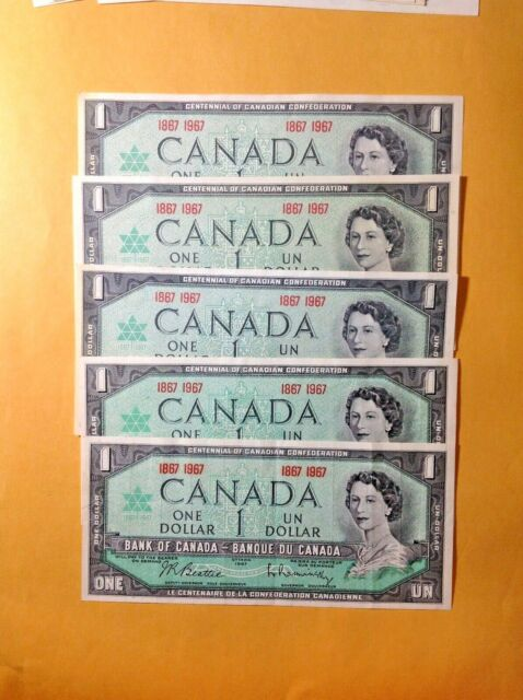 FIVE 1967 UNCIRCULATED BANK OF CANADA ONE DOLLAR BANKNOTES #5