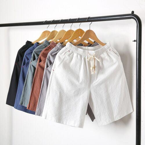Men Linen Short Pants Cotton Trousers Casual Black Summer Knee Length Drawstring