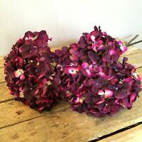 Bunch Of 5 Plum/purple Faux Silk Hydrangeas, Realistic Artificial Flowers