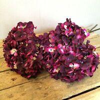 Bunch Of 5 Plum/purple Faux Silk Hydrangeas, Realistic Artificial Flowers