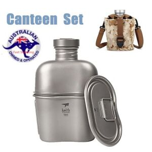 1-1L-0-7L-Army-Military-Titanium-Canteen-Water-Bottle-Cup-Pot-Camping-Tool-Set
