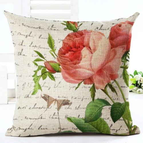 Fleur Coton Lin Taie d/'oreiller taille dos Throw Cushion Cover Maison Canapé Décor