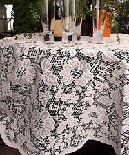 AK-Trading 60-Inch Round Ivory Floral Lace Crochet Tablecloth Overlay Table