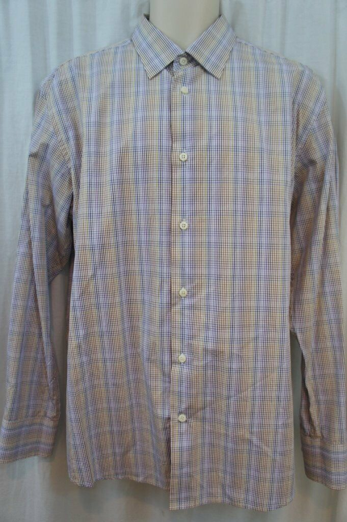 Tallia Mens Casual Shirt Sz L 16 ½ purplec Purple Multi color Long Sleeve Shirt