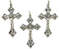Mrt 3 Crucifix Pendant Silver Oxidized Catholic Pectoral Cross Gift From Italy