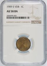1909 S VDB 1C MS Lincoln Cents, Wheat Reverse NGC AU 58 + superior eye appeal!