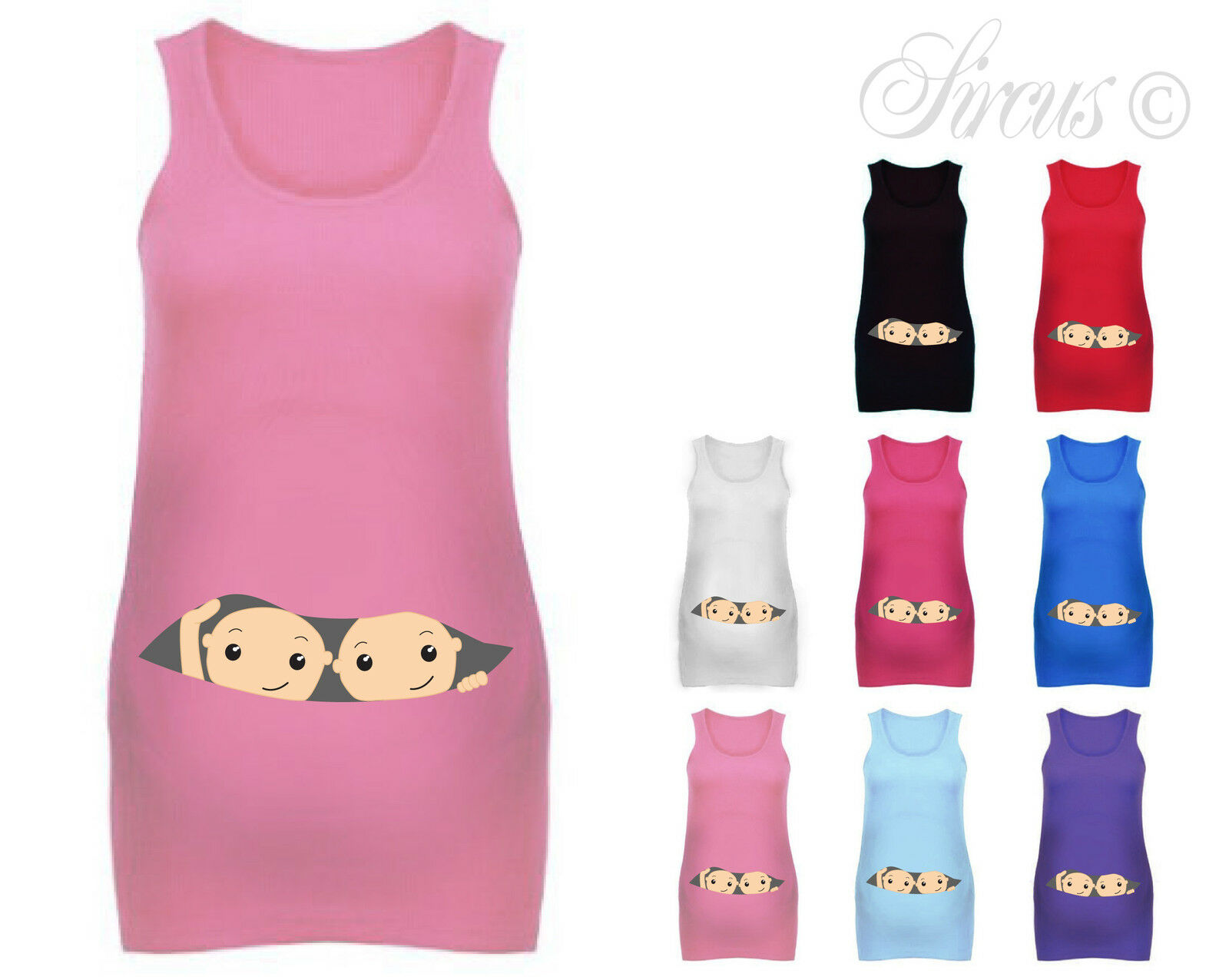 Details about WOMENS PEEKING BABY TWINS MATERNITY VEST PREGNANCY TANK TOP  BABY SHOWER GIFT 139f8ca5b375