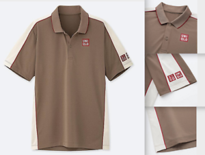 UNIQLO ROGER FEDERER MENS LARGE DRY-EX SHIRT 2019 FRENCH OPEN Size L BEIGE US