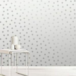 Détails sur Blanc/Argent Couronne Lumière des Étoiles à Pois Papier Peint  avec Métalliques