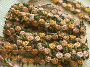"""Vintage Embroidered Rococo 3/8"""" Cotton Rosebud Sherbet 1y Made in Czechoslovakia"""