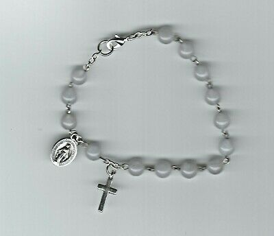Handmade rosary bracelet with cloisonne beads with a white background