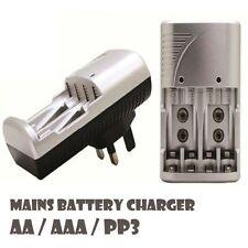 Rápido Carga Enchufes Cargador Batería AA, AAA, 9V PP3 Recargable Baterías H10
