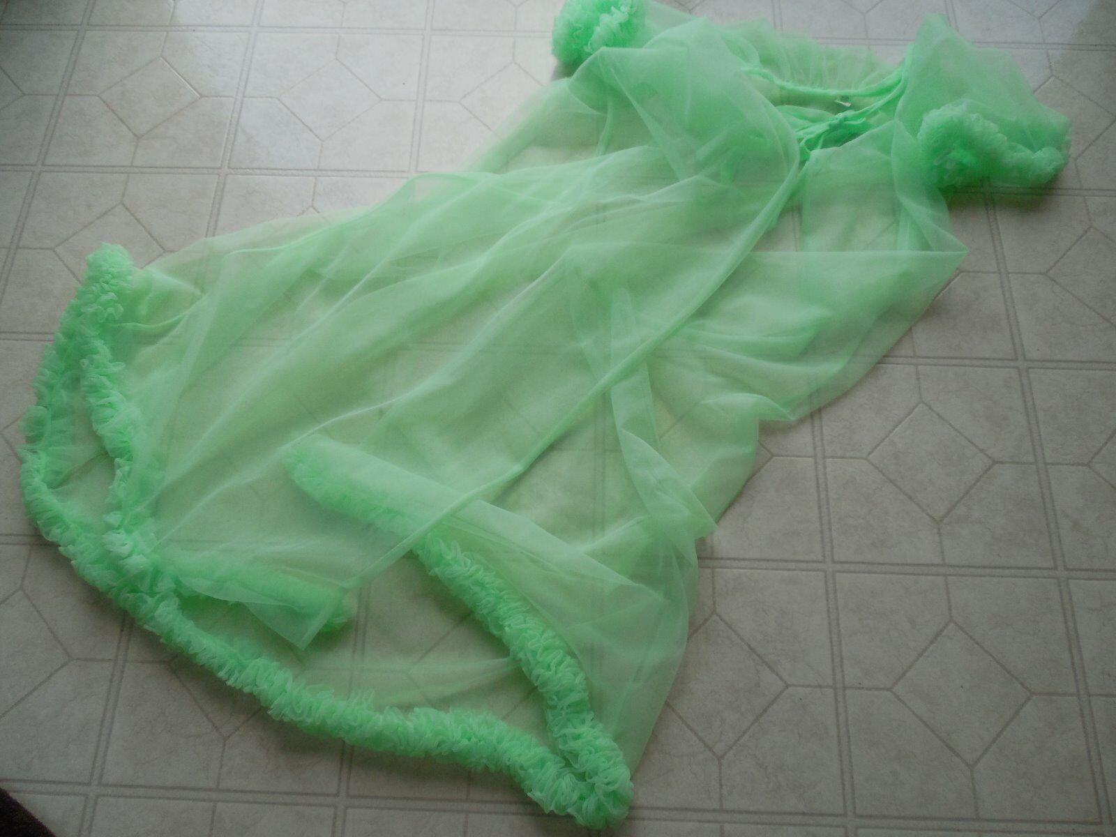 GORGEOUS Vintage LIME Green PEIGNOIR SET Nightgow… - image 8