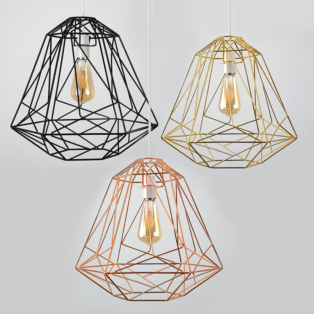 large industrial caged easy fit ceiling light shade pendant