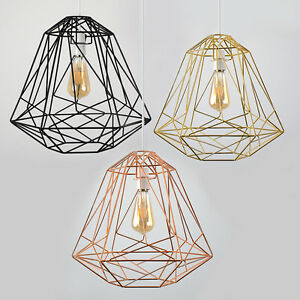 Large-Industrial-Caged-Easy-Fit-Ceiling-Light-Shade-Pendant-Lampshade-LED-Bulb