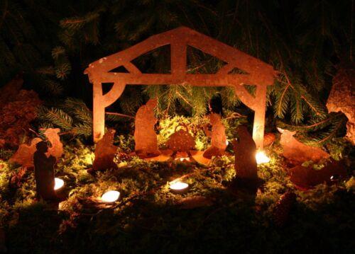 Heilige Familie Weihnachten Krippe Edelrost mit 7 einzelnen Figuren