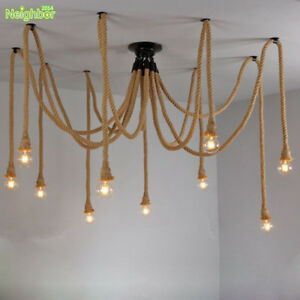 Hemp Rope Drop Chandelier Adjustable Diy Ceiling Lamp Net Spider Pendant Light Ebay
