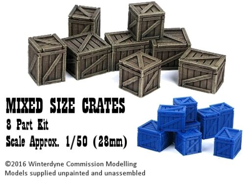 8 pieces O//On30//1:48//28mm//32mm 3d printed Mixed Size Crates