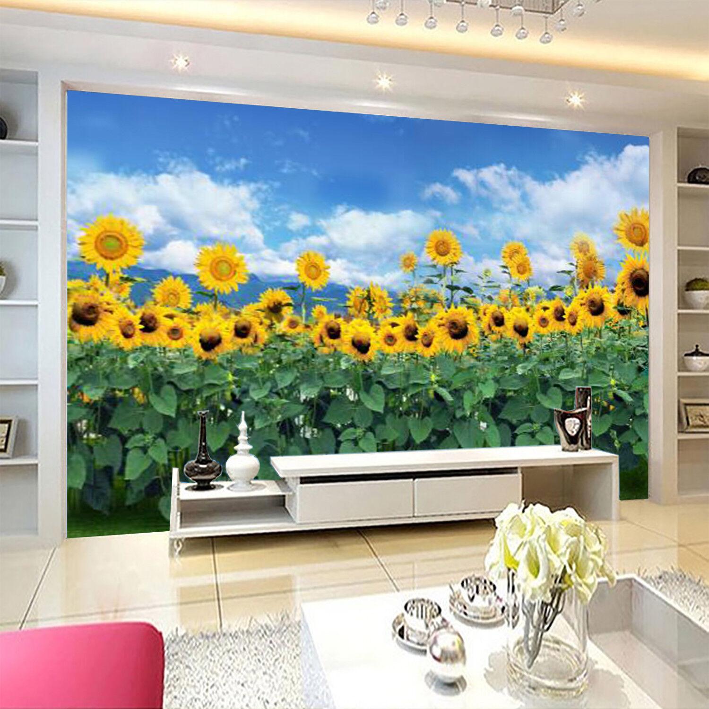 3D Sunflowers Farm 7 Wall Paper Murals Wall Print Wall Wallpaper Mural AU Summer