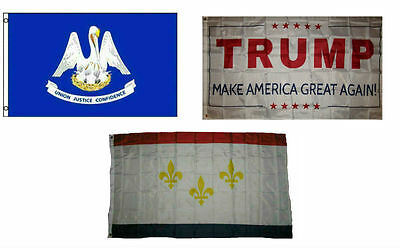 3x5 City of New Orleans Louisiana Double Sided 2ply Nylon Poly Flag 3/'x5/' Banner