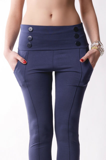 Women's High Waist Chino Trousers With Buttons Pants Leggings Sizes UK 8-18 1052