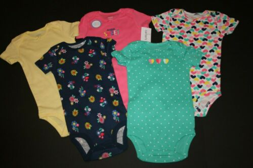 New Carter/'s Girls 5 Pack Bodysuits Tops NWT Preemie 12m 18m 24m Hearts Floral
