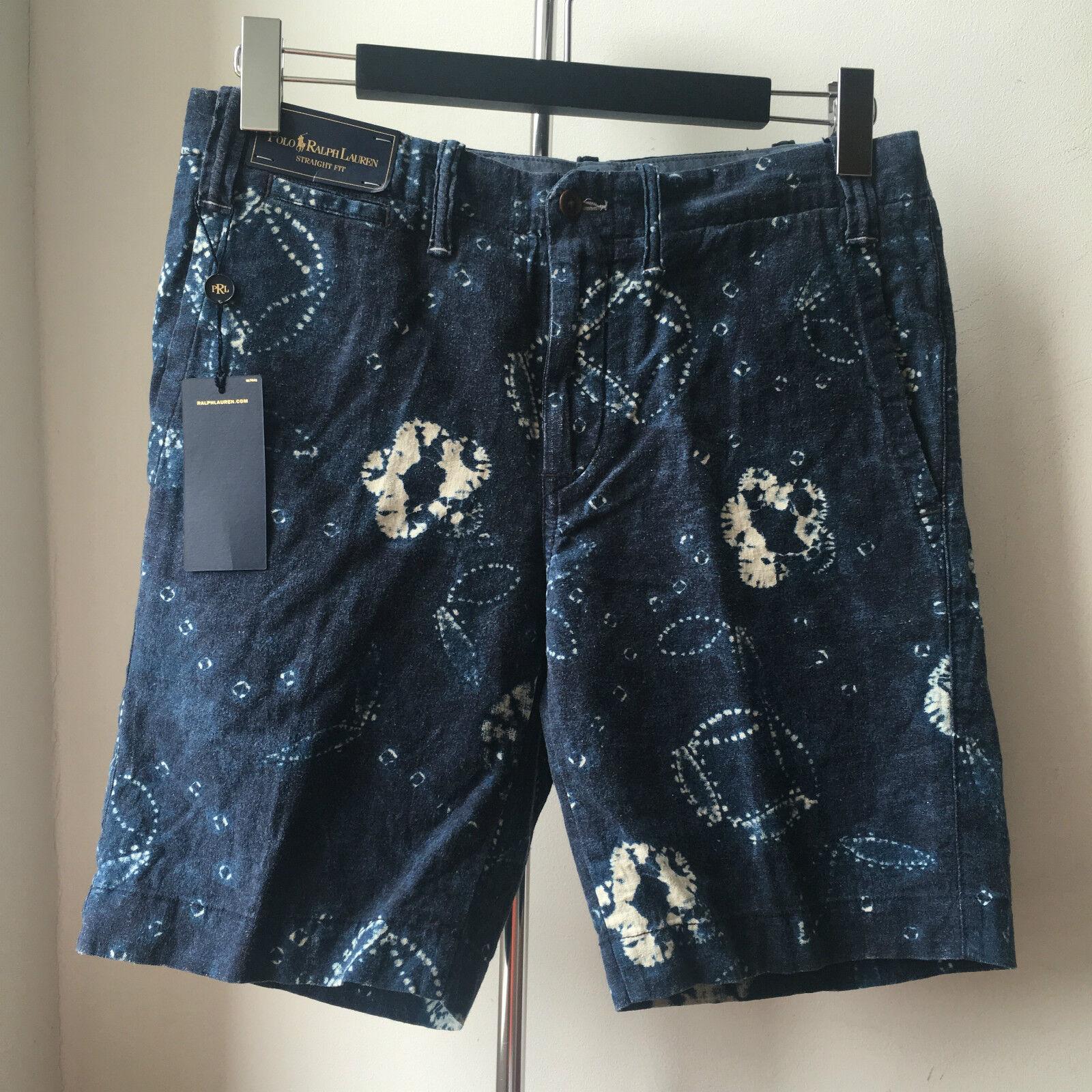Très cool LAUREN POLO RALPH LAUREN cool coupe droite en lin indigo shibori Shorts 30 fce05f