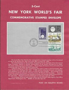 U546-5c-New-York-World-039-s-Fair-Envel-Poster-Unofficial-Souvenir-Page-Ft-w-FDC