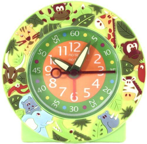 Childs 11 cm Réveil Silencieux Mouvement Jungle Analogique Temps Pièce Vert Animaux