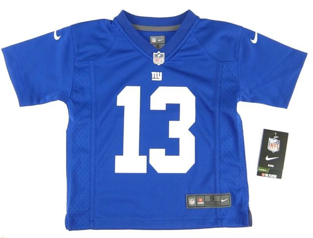 new product 8d3c1 7e986 Nike Boys Odell Beckham Jr Football Jersey NY Giants on Field Blue Size S 4