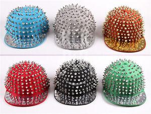 Fashion-Hedgehog-Punk-Hip-hop-Unisex-Hat-Rivets-Spike-Spiky-Studded-Cap-6-color