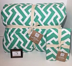Pottery-Barn-Twin-Comforter-Sham-Links-A-Lot-Green-Super-Pouf-New-Nwt