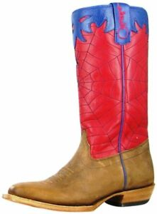 3a1c0d01564 Details about Olathe Western Boots Boys Cowboy Kids Spider Web 6 Youth Tan  OKY42