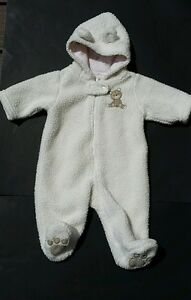 e12fc3355 Carters Infant Bunting Sz 3 Months Sherpa Hooded Bear Snowsuit Coat ...