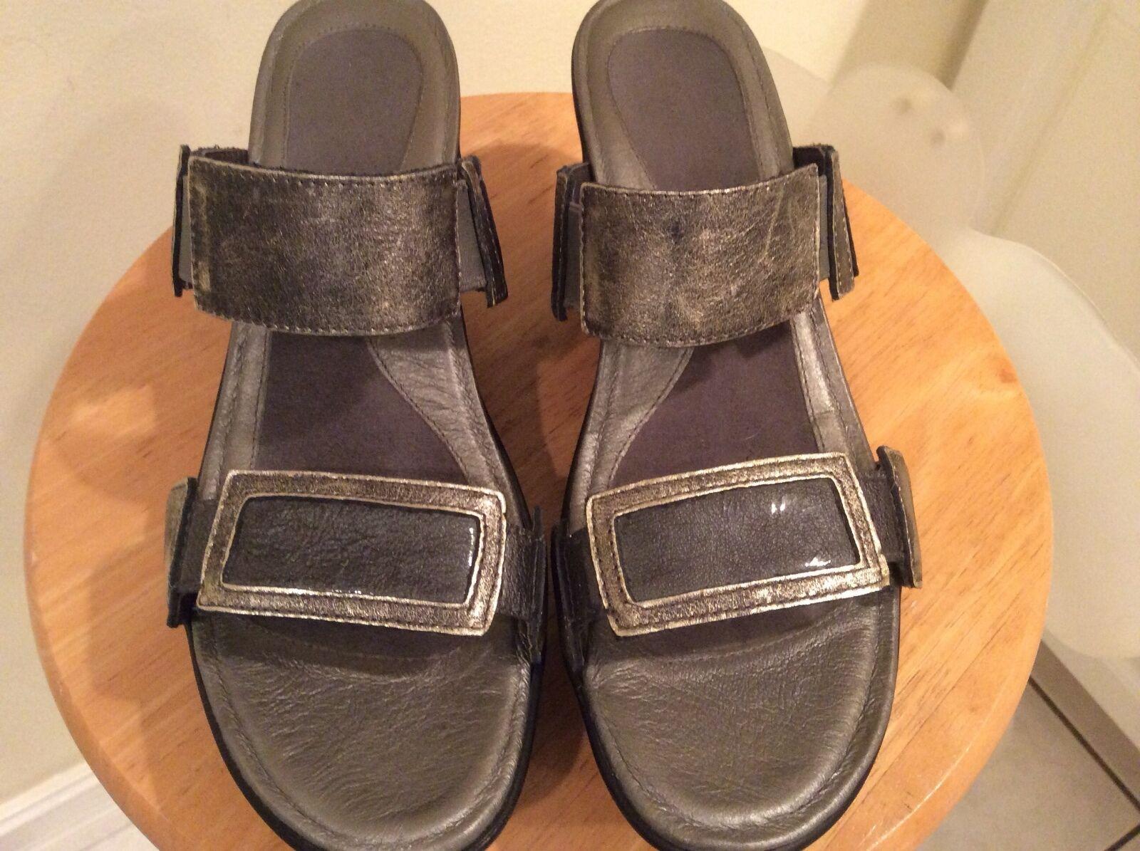 NAOT silver svart Platform Wedge Sandals EXCELLENT 41.5 -10biler -10biler -10biler Treasure Heel  Kvalitetssäkring