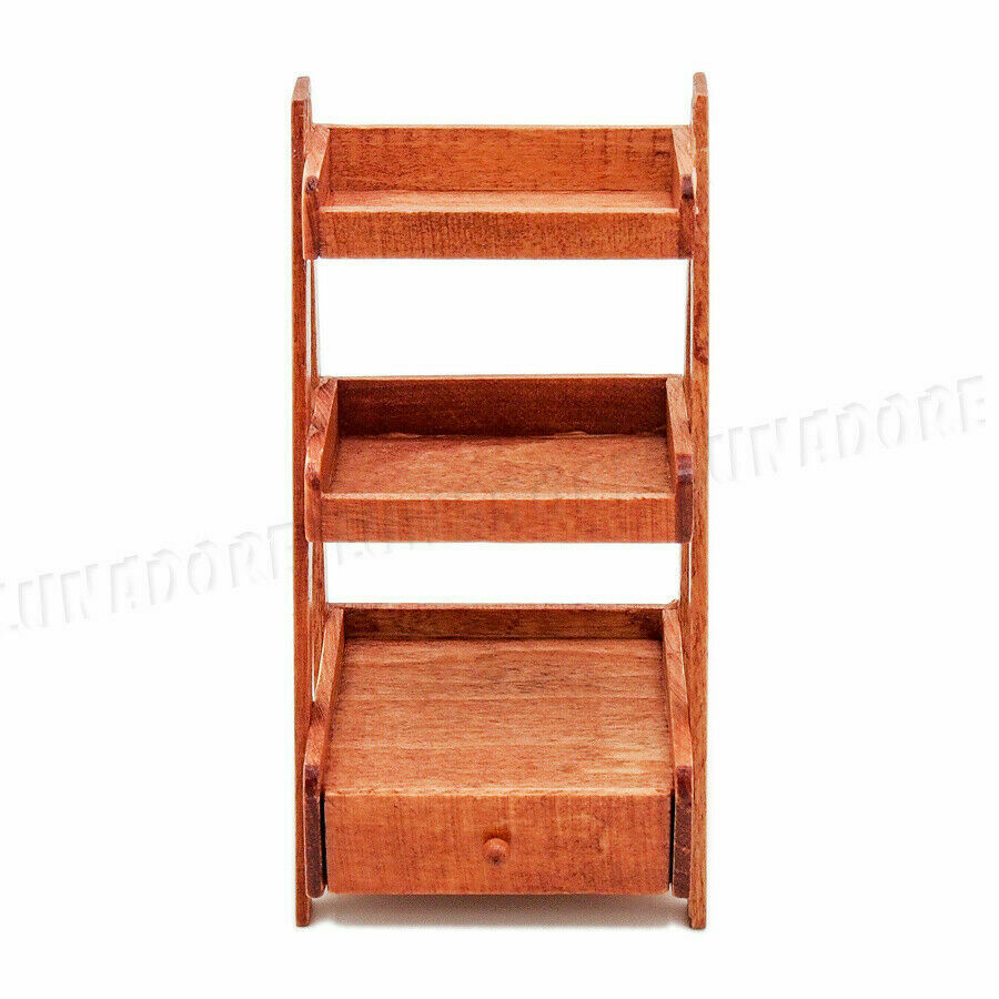 Miniature Dollhouse Display Cabinet Bookcase 1:12 Doll House Wooden Three Layers