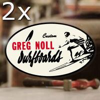 2x Pieces Greg Noll Surfboards Sticker Decal Hot Rod Surf Oahu Maui Hawaii 5