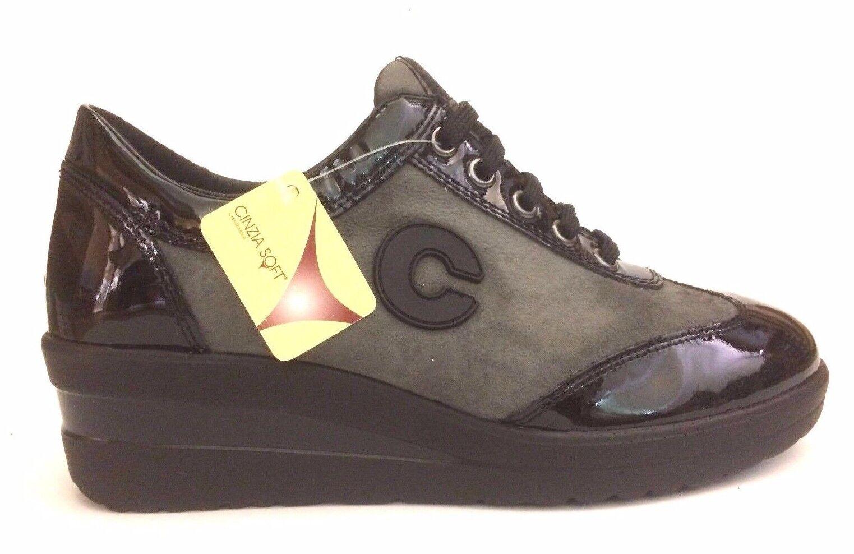 schuhe Damens CINZIA SOFT Schuhe SNEAKERS 5404 NERO/PENCIL A/I 2017/18 SCONTO 30%