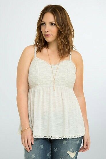 Torrid Womens Tank Top Lace Bodice Babydoll Oatmeal White Plus Size 5 5X (ZZ5)