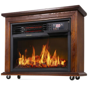 Large Room Electric Infrared Fireplace Heater Wood Mantel ...