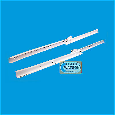 "White 16"" Roller Drawer Runners Kitchen Bedroom Replacement Slide Glide Metal"