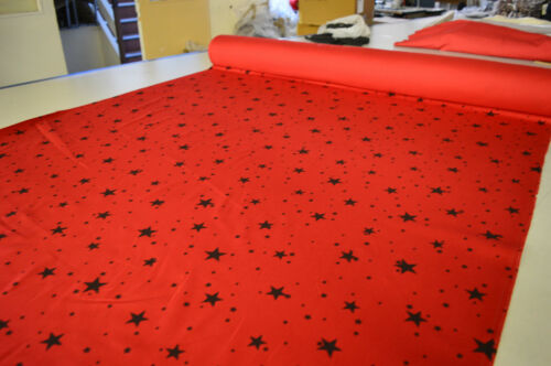 RED OR PURPLE STRETCH COTTON ELASTANE TWILL FABRIC WITH BLACK STARS