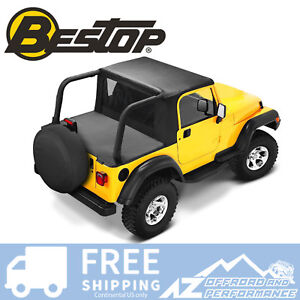 Bestop-Halftop-92-95-Jeep-Wrangler-YJ-w-Bikini-Windjammer-Duster-Black-Denim