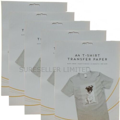 10 X A4 SHEETS T SHIRT TRANSFER PAPER IRON ON INKJET PRINTER FOR LIGHT FABRICS
