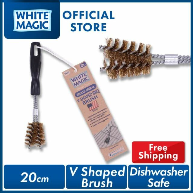 White Magic Short V-Shaped Brass Spiral Barbecue Brush 20cm - Made in USA